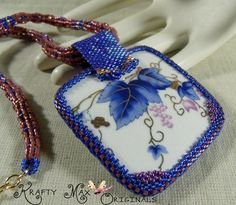Mauve, Blue and Purple Hand Painted Ceramic Beadwoven Creation | KraftyMax - Jewelry on ArtFire