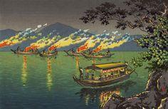土屋光逸 (風光礼讃) - 長良川 鵜飼 (1940)