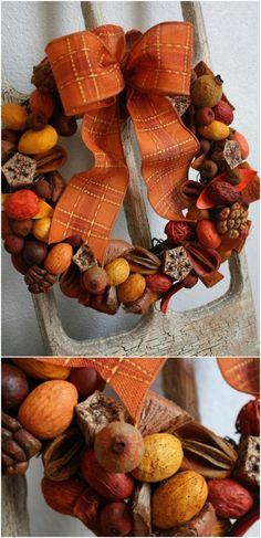 Easy DIY fall wreath from potpourri // Egyszerű őszi koszorú potpourriból // Mindy - craft tutorial collection // Fall Wreath Tutorial, Diy Fall Wreath, Autumn Wreaths, Wreath Crafts, Fall Diy, Wreath Ideas, Diy Tutorial, Photo Tutorial, Autumn Fall