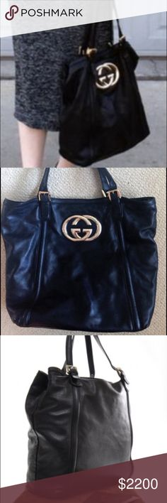 GUCCI XL BRITT TOTE  LTD Authentic Gucci XL large Britt Tote. Tote is soft buttery leather has 2 adjustable straps. Inside is unique as it is a striped inside large and roomy. Large Gold hardware  GUCCI Double G Logo. There is wear towards the bottom due to salted snow. Bag has been conditioned and is now near mint condition. No visible signs of wear now comes w dustbag . Add pics on request. Great for travel , ofc ,and everyday bag Gucci Bags Totes