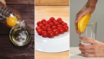 "3 Cooking Hacks To Make Your Life Easier. I really like the yolk extraction and the cutting cherry tomatoes ""hacks"""