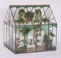 Miniature greenhouse beautiful and cool for ideas and inspiration Creativehozz About Home Decorating Design Entertainment Kids Creative Crafts Wedding Miniature Greenhouse, Small Greenhouse, Greenhouse Plans, Backyard Greenhouse, Homemade Greenhouse, Vitrine Miniature, Miniature Rooms, Miniature Houses, Garden Terrarium