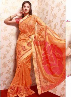 Charming Orange Color #Silk & Net Based Printrd #Saree #clothing #fashion #womenwear #womenapparel #ethnicwear