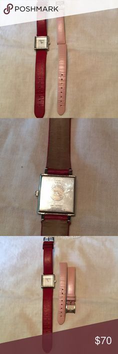 AUTHENTIC BURBERRY WATCH PINK & RED BANDS AUTHENTIC BURBERRY WATCH SQUARE FACE SILVER HARDWARE - HAS TWO LEATHER WATCH BANDS THAT FIT AND ACCOMPANY THE WATCH- PINK & RED- BATTERY WORKS‼️ AMAZING FIND Burberry Accessories Watches