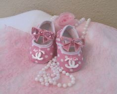 Baby crib shoes pink Chanel  inspired by Sassykatboutique on Etsy, $18.50