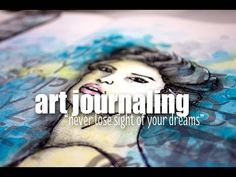 """Artist Gang 21.apr.15 - art journaling with CeeCee - YouTube CeeCee uses """"Avery"""" (Donna Downey stencil of a face) to make it her own face."""