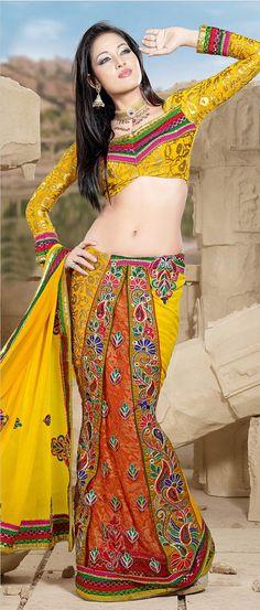 #Yellow Faux #Georgette #Lehenga Style #Saree @ $110.46
