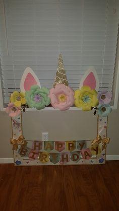 Unicorn theme party photo frame Party Photo Frame, Party Frame, Birthday Photo Frame, Birthday Frames, 13th Birthday Parties, Birthday Party Decorations, 3rd Birthday, Unicorn Themed Birthday, Unicorn Party