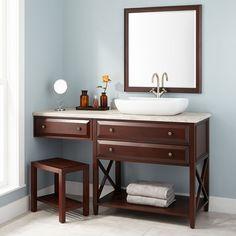 "60"" Glympton Vessel Sink Vanity with Makeup Area - Mahogany"