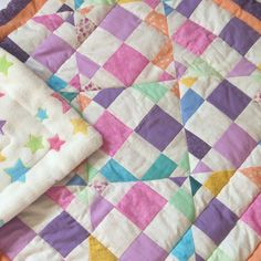 girl nursery quilt - Patchwork baby quilt -homemade - 90x 90cm - READY TO SHIP