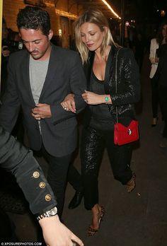 Kate Moss Wears Black Lame Tuxedo Jacket & Trousers   Kate Moss Universe