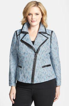 Sejour Asymmetrical Zip Tweed Jacket (Plus Size)   Nordstrom