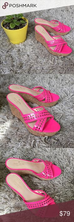 Kate Spade Wedge ♠️ + EUC !  + Great cork design with a pop of hot pink sass  + Don't forget to bundle  ⭐️All items are steamed cleaned and shipped within 48 hours of your purchase. ⭐️If you would like any additional photos or have any questions please let me know. ⭐️Sorry, no trades. But will listen to ALL fair offers. Thanks for shopping! kate spade Shoes Wedges