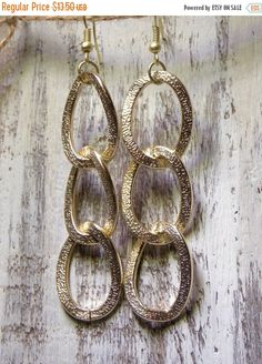 Lightweight & large textured chain link earrings. Matte Gold  Measures 3.5 inches #dangle #earrings ➡️ https://www.etsy.com/listing/261092829/sale-gold-link-earrings-gold-chain-links?utm_campaign=products&utm_content=775433836be74eb7979e9248490805d4&utm_medium=pinterest&utm_source=sellertools