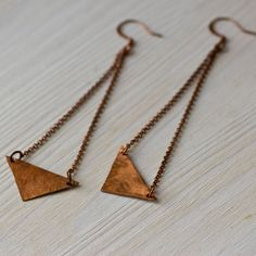 Items similar to Triangles Copper Earrings on Etsy Funky Earrings, Copper Earrings, Indie Brands, Geometric Shapes, Simple Style, Arrow Necklace, Chain, Trending Outfits, Unique Jewelry