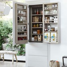 Today we're putting the spotlight on Kitchen storage. This is our Limehouse full height larder cabinet, our most exciting design yet with it's double-doors, shelves, racks and drawers.  Read our latest journal post for more clever kitchen storage designs.