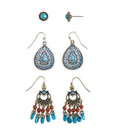 Show off your free-spirited style by accessorizing your fave boho look with our Gypsy Hook & Stud Earring 3-Pack! There's plenty of personality in this set, which includes circular studs with faux gems, mosaic teardrop-shaped hooks and breezy-chic chandeliers.<br><br> Style: 5023. Imported.