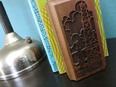 Vintage Bookends, Oil Derrick Design, Lasercraft, Laser Cut, Solid American Walnut, Texas Style, Made in USA.