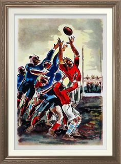 Lineout - Vintage Rugby Print. Vintage 1920's rugby art by André Planson…