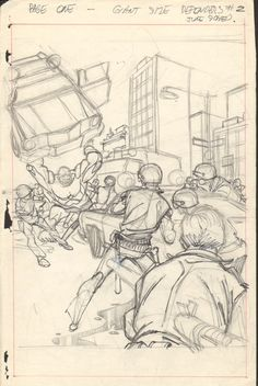 Gil Kane  - Defenders Giant Size #2 pg 01 layouts Comic Art