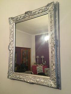 Espejo antiguo con molduras patinado en plateado!