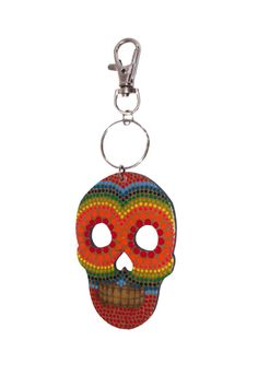 "Colorful, printed skull keychain.     Measures: 5.5"" L; Skull is 3"" x 2""    Skull Keychain by The Habit: Art!. Accessories - Keychains & Charms Florida"