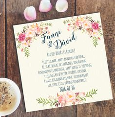 Romantikus, Elegáns Esküvői meghívó, Elegáns esküvő, rózsa, virágos, barack virág, nyári meghívó (LindaButtercup) - Meska.hu