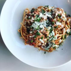 Spaghetti with Meatballs and Grated Pecorino | pinterest @softcoffee