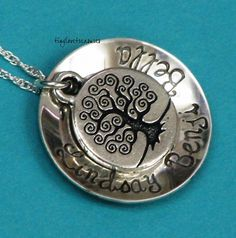 Family Tree sterling silver hand stamped by tinylovetreasures, $35.00