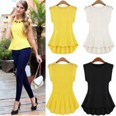 Hot Selling !! 1pcs Plus Size Europe Womens Sleeveless Crew Collar Pleated Peplum Blouse Top Vest Shirts