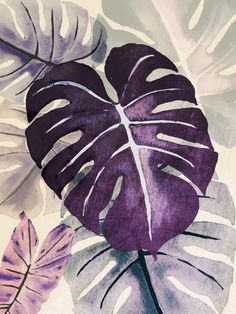 PURPLE MONSTERA Botanical Drawings, Botanical Art, Botanical Illustration, Plant Painting, Fabric Painting, Tropical Art, Art N Craft, Art For Art Sake, Leaf Art
