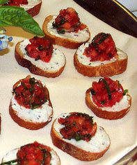 Classic Italian Bruschetta with Goat Cheese on Bread Appetizer Party Recipe