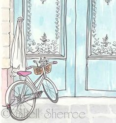 Paris Turquoise Doors and Cycling Kitty Cat art giclee print illustration, Paris Doors and Bicycle with Cat illustration print, Paris print, Bicycle Illustration, Paris Illustration, Photo Illustration, Watercolor Illustration, Girl Illustrations, Turquoise Door, Cat Art, Giclee Print, Sketches