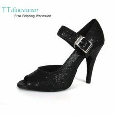 Black Glitter Latin Salsa Dance Shoes. My next purchase for dancing nights!
