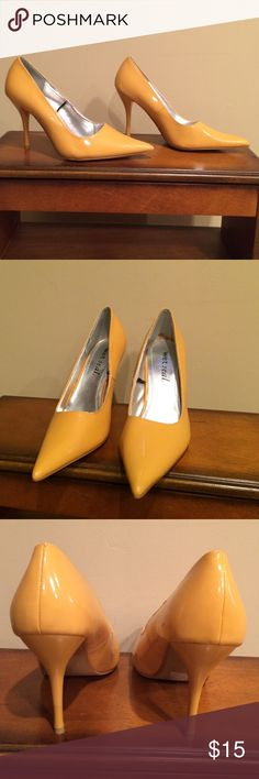 Size 8 yellow high heel dressy shoes. True to size Size 8 yellow high heel dressy shoes. True to size. In good condition and no issues. Heels measure 4 inches. New and never worn. Wet Seal Shoes