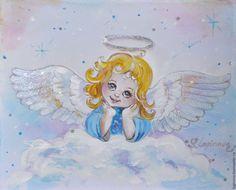 Ангелок-картина на шелке, размер 17на23, художник Логинова Светлана, Loginova. livemaster.ru