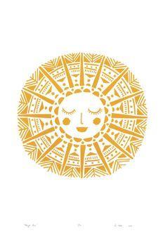 Maya Sun Giclee Print In Yellow Ochre by Lu West Lu West – Maya Sun Screen Print in Yellow Ochre Sonne Illustration, Stars And Moon, Sun Moon, Sun Drawing, Sun Art, Art Graphique, Silk Screen Printing, Printing Ink, Art Inspo