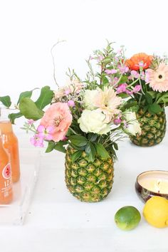 With a quick trip to the grocery store you can create unique pineapple arrangements that look like they were styled by a professional florist.