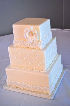 pearl encrusted banding on a fondant cake! Cake Design Inspiration, Exploding Box Card, Fondant, Wedding Cakes, Cupcake, Decorative Boxes, Pearl, Wedding Ideas, Birthday