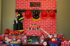 Greene Acres Hobby Farm: Fireman Party Table Back Drop and Cupcake Stand