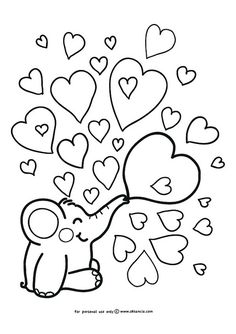 Heart Coloring Pages for Kids Simple Elephant and Heart Doodle Coloring Page for Shape Coloring Pages, Heart Coloring Pages, Free Printable Coloring Pages, Adult Coloring Pages, Coloring Sheets, Doodle Coloring, Coloring Pages For Kids, Free Coloring, Colouring