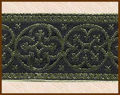 Criss Cross, 1-5/8 inch, Gold - Black, Jacquard Ribbon Fabric Trim