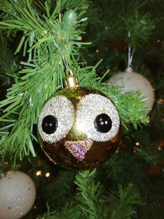 Glitter Owl Christmas ornament