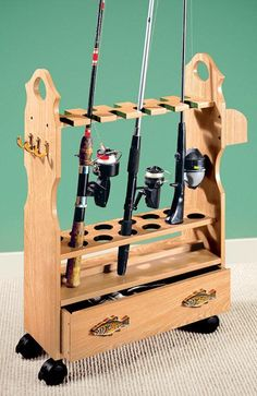 Rolling fishing rod rack, but use for other stuff