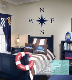 "Compass Wall Decal Nautical Vinyl Wall Decals Sailboat Girl Boy Baby Nursery Room Decals 22""H x 22""W Wall Art FS358 on Etsy, $32.00"