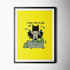 Batman poster design for home wall office decoration Batman Poster, Superhero Poster, Batman Superhero, Batman Comics, I Need A Hobby, Part Time Jobs, Geek Culture, Gifts For Boys, Nursery Art