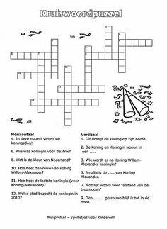 Kruiswoordpuzzel, thema : Nederland, minipret Dutch Language, Crossword Puzzles, Escape Room, Spelling, Holland, School Stuff, Kids, Alice, Vocabulary Practice