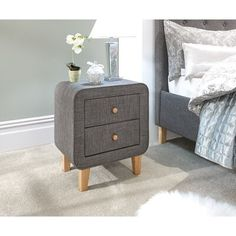 GFW's Ashbourne 2 Drawer Bedside Chest, constructed from plywood, pine wood and is upholstered in hopsack fabric. Bedroom Storage Shelves, Cupboard Storage, Bathroom Storage, 3 Drawer Bedside Table, Bedside Chest, Bedside Tables, Side Table With Storage, Contemporary Frames, Round Side Table
