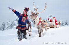 Santa Claus Reindeer is located right by Santa Claus' home in Santa Claus Village in Rovaniemi, so sometimes Santa Claus comes for a ride with us around the snowy forest.