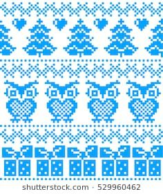 New Year's Christmas pattern pixel, card - scandynavian Norwegian sweater style Chunky Knitting Patterns, Knitting Charts, Knitting Designs, Baby Knitting, Cross Stitch Bird, Cross Stitch Designs, Cross Stitch Patterns, Fair Isle Chart, Fair Isle Pattern